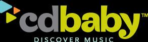 cd baby logo on black background